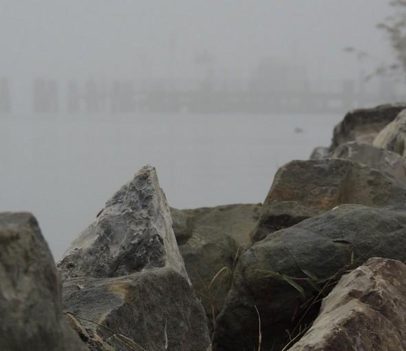 Photo prise de l'extrémité de la digue nord du Porto del Sole, en direction du point d'arrivée du traghetto au pontile de Tuoro-Navaccia (visible ici)   -   12/12/2013,  15:00.