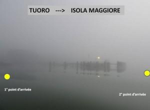 Ma position lors des deux arrivages à l'Isola Maggiore.