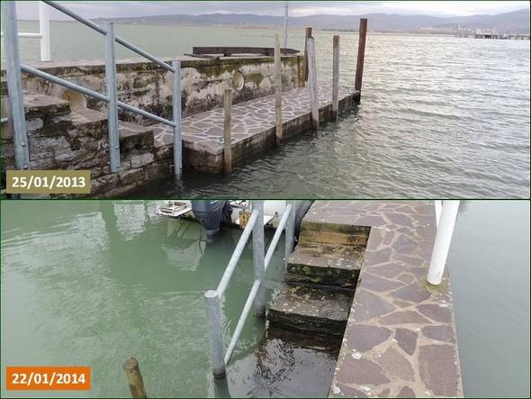 Le premier niveau de notre darse privée est à sec en 2013 et complètement sous eau en 2014, y compris la première marche de l'escalier d'accès.