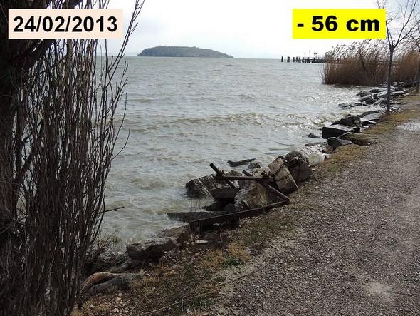 Février 2013 : remontée du niveau du Trasimène va bientôt rendre nécessaire un nouveau renforcement des pierres en bordure du chemin.