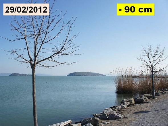Février 2012 : la baisse du niveau du lac Trasimène permet de bien remarquer la protection rocheuse.