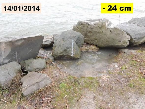 L'eau du Trasimène s'infiltre à travers les amas de roches ajoutés en 2011  -  Le niveau du lac Trasimène est indiqué dans la case JAUNE.