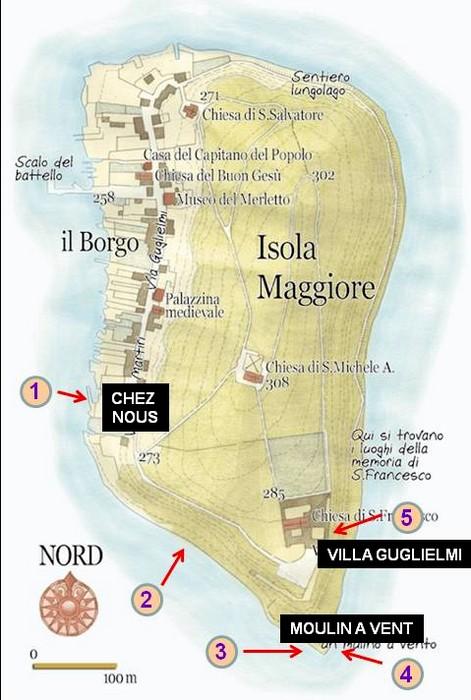 Carte de l'Isola Maggiore, avec les endroits photgraphiés au cours de la première partie de ma navigation autour de l'île.