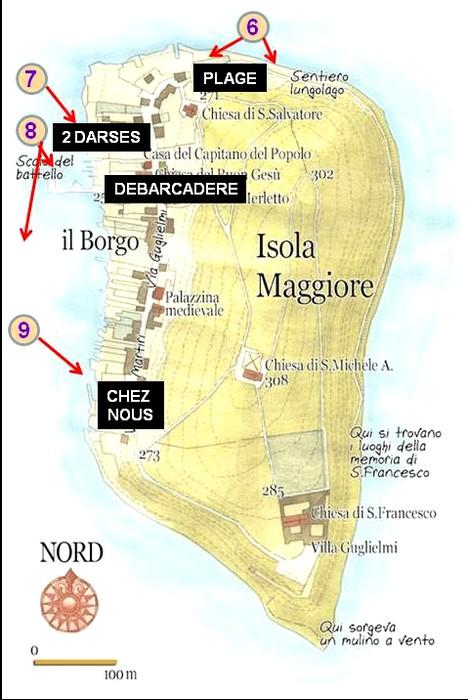 Carte de l'Isola Maggiore, avec les endroits photgraphiés au cours de la seconde partie de ma navigation autour de l'île.