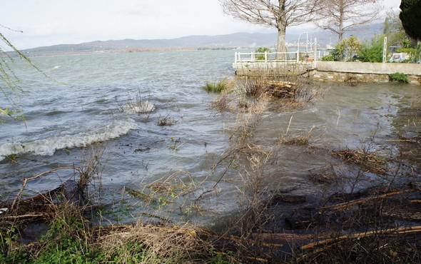 A l'avant-pla, ce qui était le jardin longeant le côté de notre mur, est désormais envahi par l'eau du Trasimène et par moment des vagues viennent y mourir- 17 février 2014.
