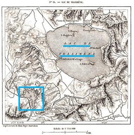 Lacs Trasimène, de Chiusi et de Montepulciano  -  D'après la carte de l'Etat-Major autrichien, 1876.