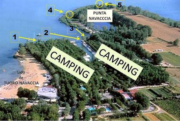 Vue aérienne de la Punta Navaccia avec l'indication des différentes vues présentées dans les photos ci-dessous.