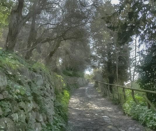La via Tre Martiri débute à l'extrémité sud de la via Guglielmi et monte pour rejoindre la strada di San Michele Arcangelo.