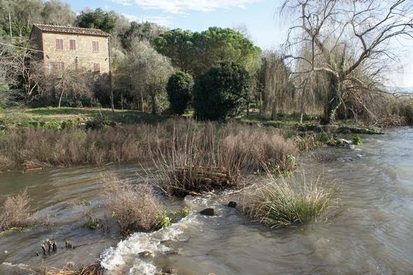 Le jardin de la maison la plus au sud de l'île est largement entamé par les eaux du Trasimène.