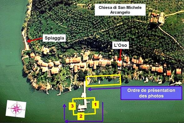 Carte partielle de l'Isola Maggiore avec, dans les deux encadrés JAUNES, la portion de rive correspondant aux photos de cet article.