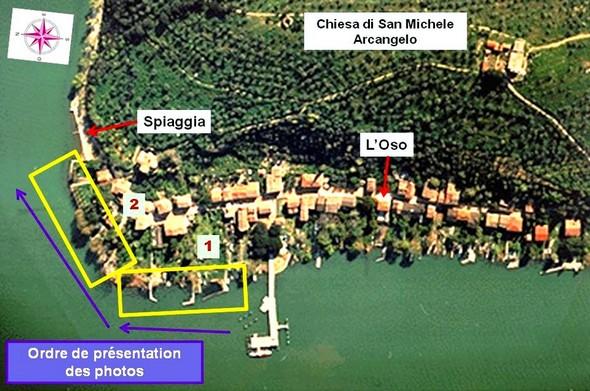 Carte partielle de l'Isola Maggiore avec, dans les deux encadrés JAUNES, la portion de rive correspondant aux photos de ce troisième  article.