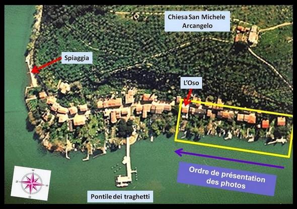 Carte partielle de l'Isola Maggiore avec, dans l'encadré JAUNE, la portion de rive correspondant aux photos de cet article.