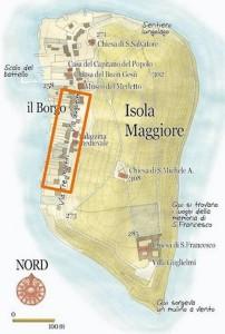 Carte de l'Isola Maggiore   -   La section encadrée correspond à la partie de la via Guglielmi photographiée pour cet article.