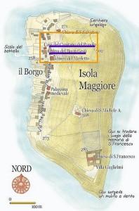 Carte de l'Isola Maggiore avec, dans l'encadré, la partie de via Guglielmi concernée par cet article.