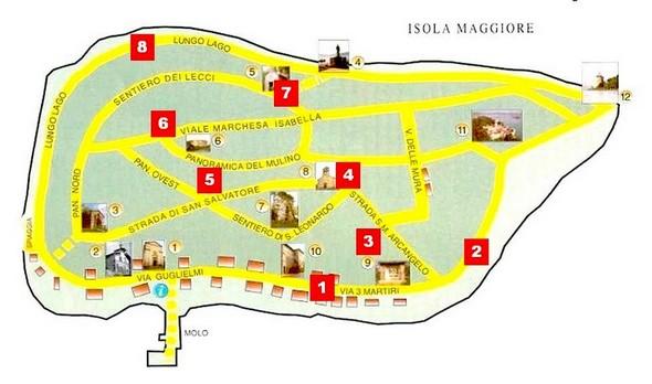 Plan sommaire de l'Isola Maggiore - Les chiffres dans les cadres rouges correspondent aux numéros des sous-titres ci-dessous.