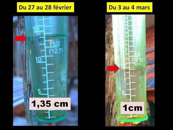 Relevés de notre pluviomètre les nuits des 27-28 février et 3-4 mars 2014.