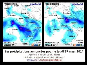 Prévisions des précipitations pluvieuses en Italie pour le jeudi 27 mars 2014.