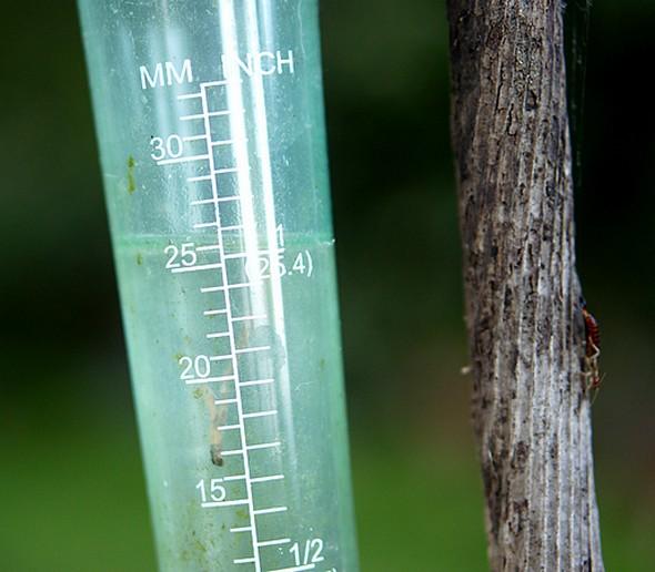Enregistrement de notre pluviomètre à l'Isola Maggiore pour les orages de la soirée du mardi 13 mai 2014.