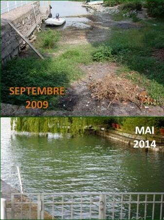 Comparaison du niveau d'eau dans notre darse privé de l'Isola Maggiore, en 2009 et en 2014.