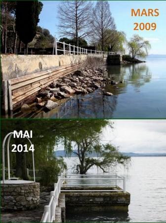 Différence de hauteur des eaux du Trasimène au niveau de la digue de notre jardin, en 2009 et 2014.