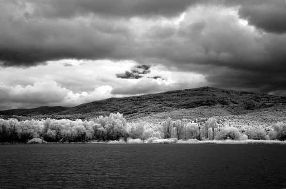 La rive du lac Trasimène, après Tuoro-Navaccia, en direction de Passignano.