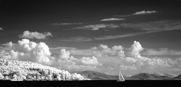 Un dernier regard nostalgique en arrière, vers l'Isola Maggiore (à gauche) et les collines ombriennes (moitié droite).