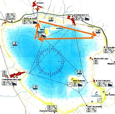 En orange sur la carte nautique du lac Trasimène, le tracé de notre navigation.