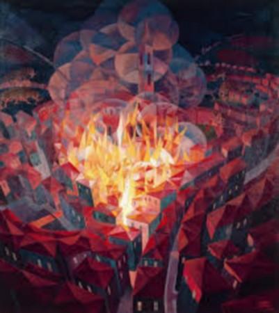 Incendio nella città   -   olio su tela   -   1926