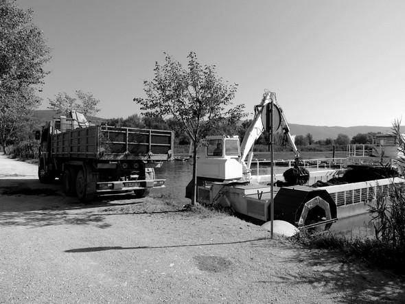 Quand la grande drague est pleine à son tour, elle regagne Tuoro-Navaccia où toutes les algues arrachées sont transférées sur un camion...