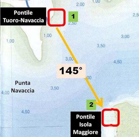 Schéma du trajet de retour à l'Isola Maggiore au départ de Tuoro-Navaccia.