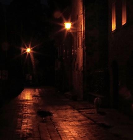 L'extrémité sud de la via Guglielmi, juste avant d'arriver chez nous, est particulièrement ténébreuse. malgré les reflets des lanternes sur le sol détrempé.