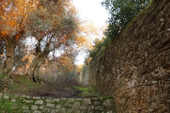 Premièrehalte possible, premier banc, et toujours le mur du château...