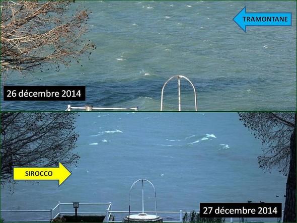La direction du vent et donc des vagues du Trasimène s'inverse du jour au lendemain.