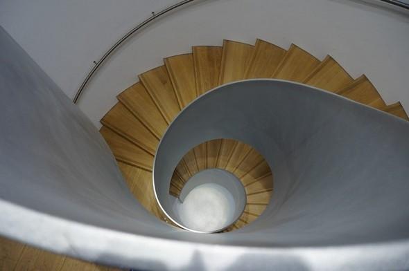 """Présentation vertigineuse d'un escalier qui n'est pas sans rappeler la """"spirale d'or"""" ou """"Divine proportion"""" - © Dinu Wilmotte."""