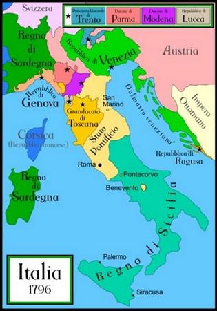 1796 Morcellement de l'Italie en de nombreux états indépendants. Et donc d'innombrables frontières à franchie.