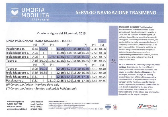 Pianificazione dei traghetti dal 18 gennaio 2015