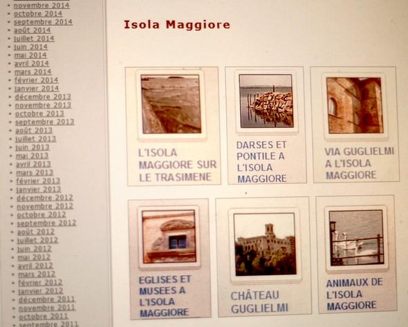 """Page où les albums sont regroupés par thèmes. Ici, le thème """"ISOLA MAGGIORE""""."""