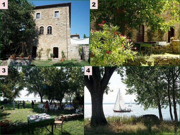 """1 - One home of the Bishopric at the disposal of the organiser of """"Isola Maggiore, Isola del Libro"""".   2 - Entry of the garden of this house.   3 - The space used for the presentation of books and which will be made available to the Writing Workshop.   4 - At the bottom of this space, view on the Trasimeno."""