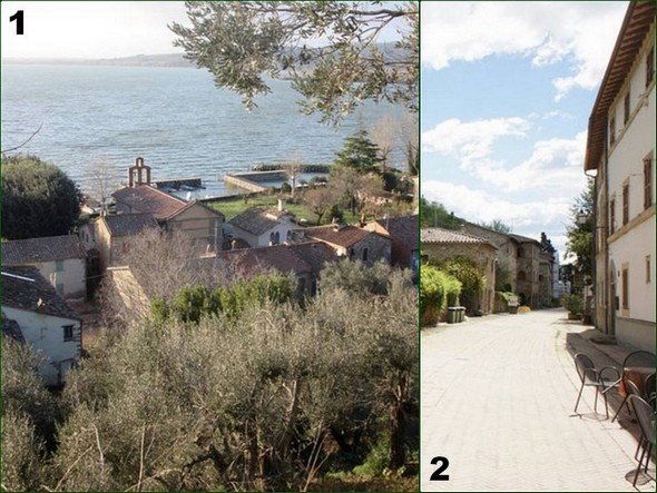 On the left, via Guglielmi, only street of the Isola Maggiore, and the two darses photographed since a trail in height.On the right, part of the via Guglielmi.