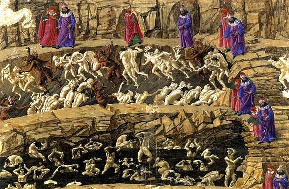 """<strong><span style=""""color: #0000ff;"""">Sandro Botticelli.</span></strong><br /> Dante e Virgilio visitano i primi due gruppi dell'ottavo cerchio dell'Inferno.<br />Divina Commedia, Inferno, Canto XVIII.<br />1480."""