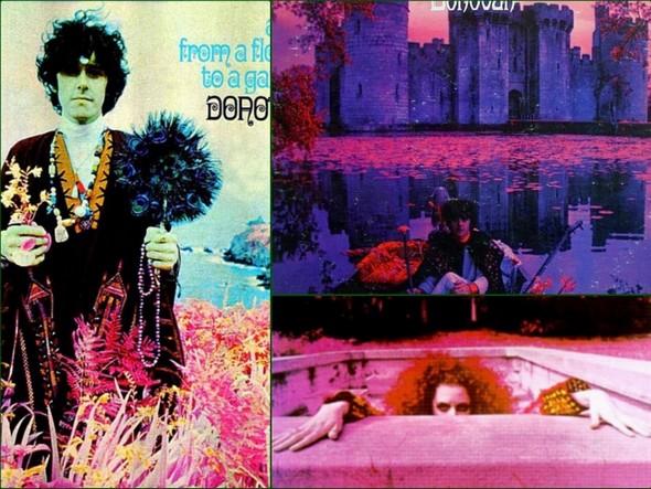Exemples de couverture d'albums de Donovan (moitié gauche et partie supérieure droite) et de Frank Zappa (partie inférieure droite), utilisant la technique infrarouge.