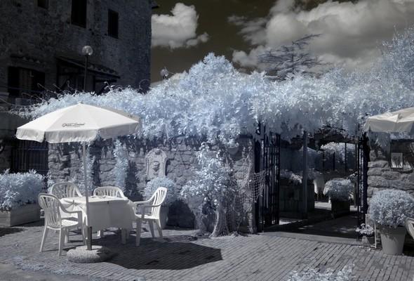 """Restaurant """"Da Sauro"""".Queques tables dans la via GuglielmiEt entrée vers la terrasse du jardin."""