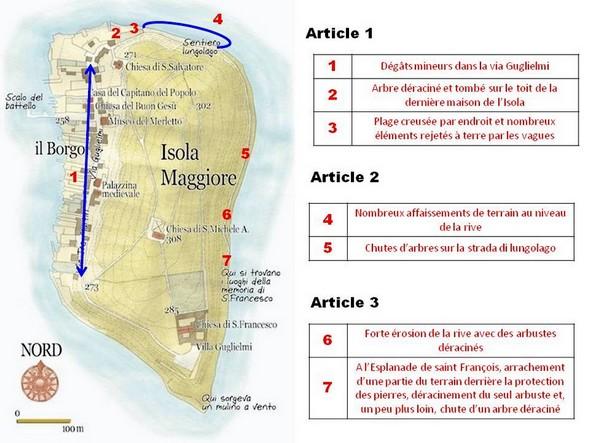 Plan de l'Isola Maggiore afin de suivre et de situer plus aisément le contenu des trois articles de cette mini-série.