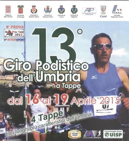 Manifesto che annuncia questa 13 ° edizione di questo Giro Podistico dell'Umbria.