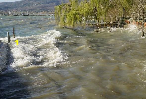 Les vagues ses succèdent rapidement pour aller se jeter sur la digue du jardin de notre voisin.