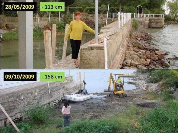 Niveau de l'eau du Trasimène dans notre darse privée.Mai et octobre 2009.