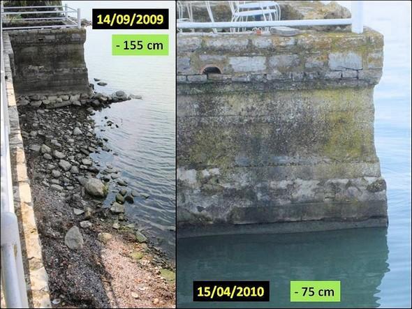 Le niveau du Trasimène au pied de l'avancée de la digue de notre jardin en 2009 et 2010.