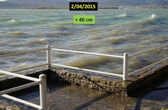 Niveau du Trasimène par rapport au même endroit le 2avril 2015..