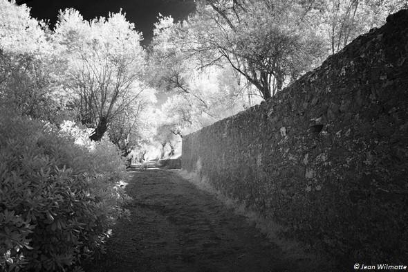 Au pied de la strada San Michele Arcangelo. A droite, le mur d'enceinte du château Guglielmi.