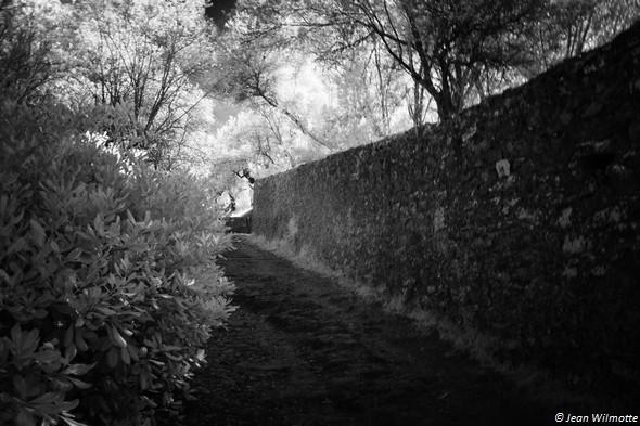 Au pied de la stradada San Michele Arcangelo. A droite, le mur d'enceinte du jardin du château Guglielmi.